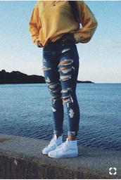jeans,shirt,yellow,sweatshirt,ripped jeans,jacket,ripped,blue,american eagle jeans,skinny jeans