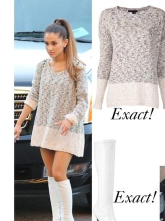 shirt ariana grande grey sweater