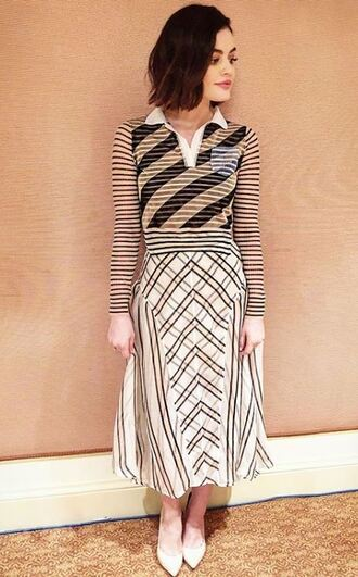 skirt midi skirt lucy hale pumps instagram spring outfits shoes stripes striped dress