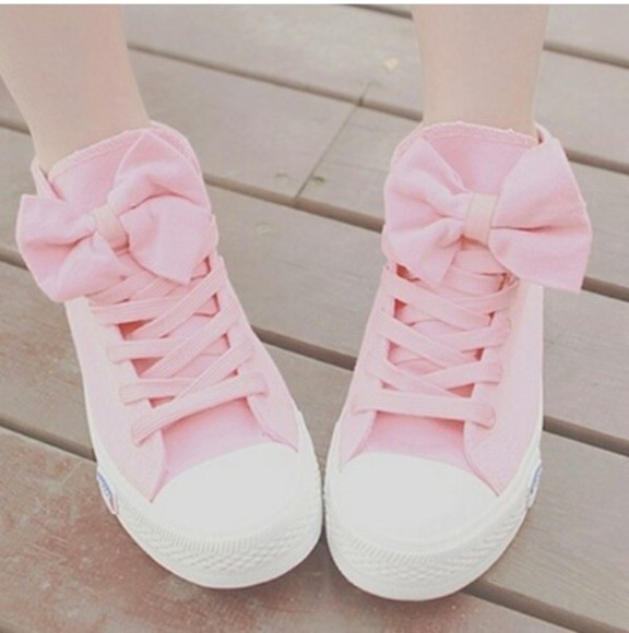 korea shoes pink cute pastel bows