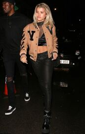 jacket,crop tops,sofia richie,pants,fall outfits,top,see through,bomber jacket