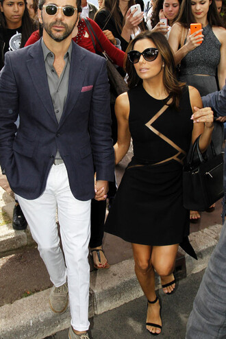 dress black dress eva longoria sandals cannes