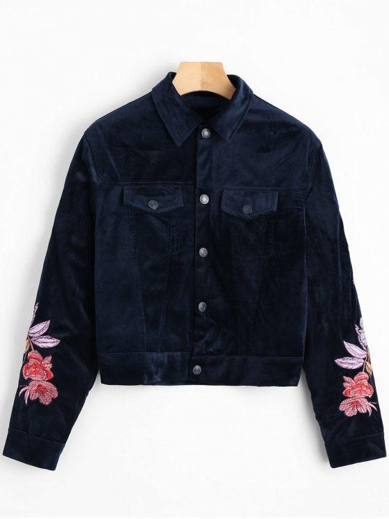 Flower Embroidery Velvet Shirt Jacket