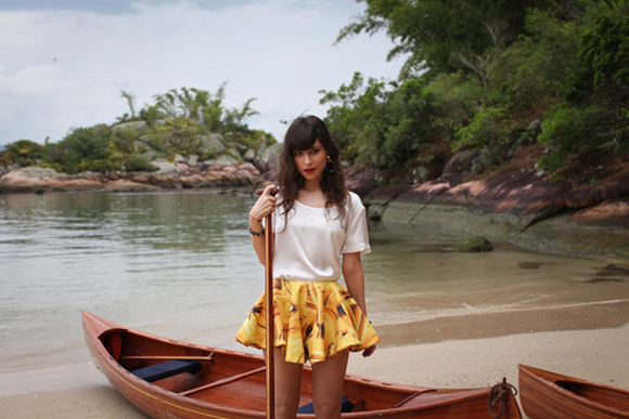 betty clothes blog de betty skirt yellow yellowskirt fruits bananas pineapple print