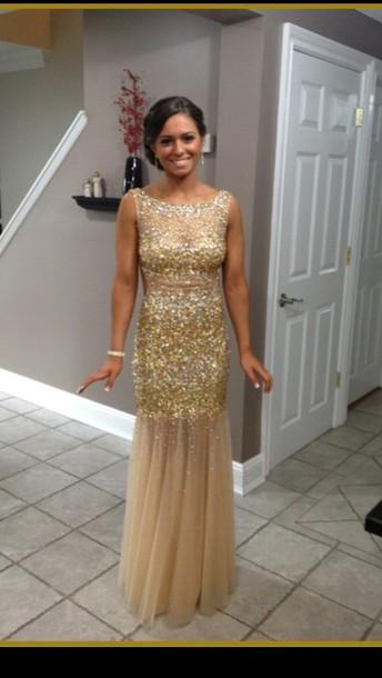 dress prom dress sparkly dress gold