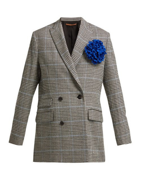 Summa - Prince Of Wales Check Wool Blend Blazer - Womens - Black White