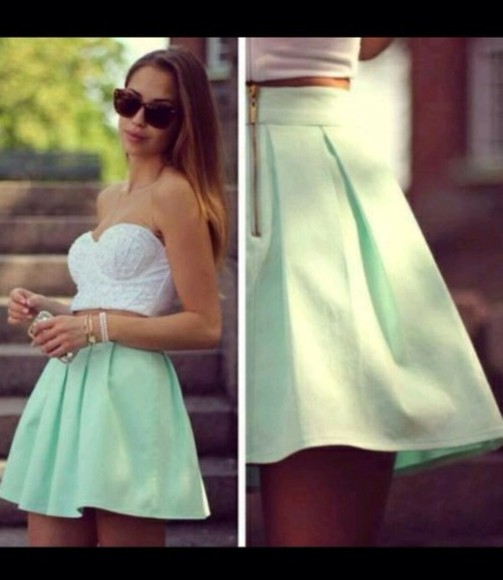 mint skirt green