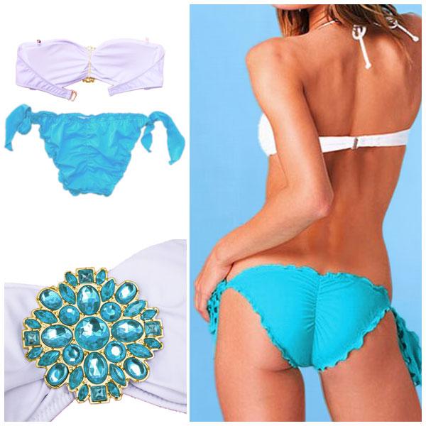 Sexy Damen Bikini Juwelen Bademode Abnehmbare Träger Badeanzug S M L | eBay