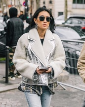 jacket,silver jacket,metallic jacket,shearling jacket,sunglasses,earphones,accessories