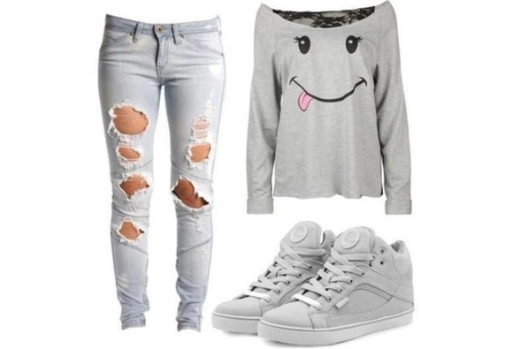 shoes basket jeans t-shirt grey denim smile sweater