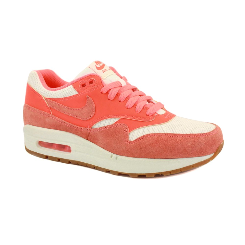 Nike Air Max 1 Vintage 555284 106 Womens Laced Leather & Textile Trainers Orange White