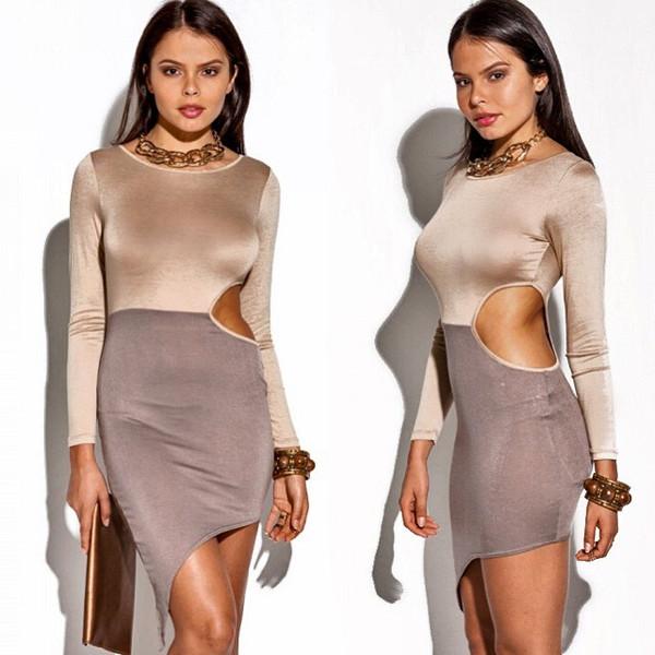 sylvi label colorblock mocha colored khaki colored cut-out dress long sleeve dress color block dress asymmetrical dress