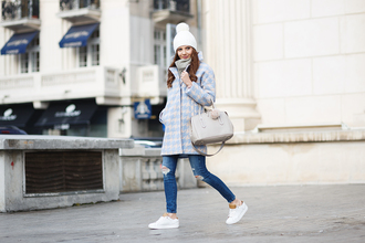 the mysterious girl blogger coat hat scarf jeans jewels shoes bag