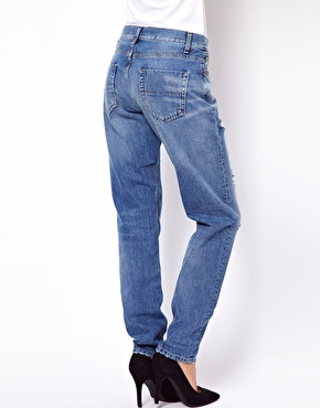 ASOS | ASOS Brady Low Rise Slim Boyfriend Jeans in Vintage Wash with Rips at ASOS
