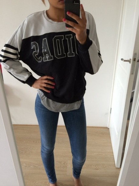 adidas pullover girl hipster swag stripes sweater