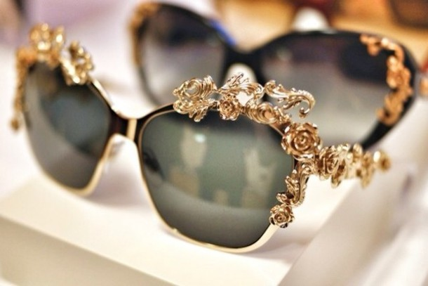 sunglasses gold details metal fashion style
