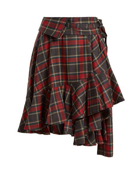 Junya Watanabe skirt wool tartan red