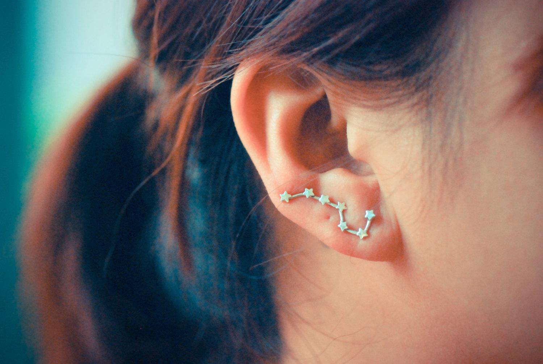 Big dipper sterling silver ear pins