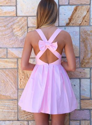 Pink Party Dress - Light Pink Bow Back Sleeveless | UsTrendy
