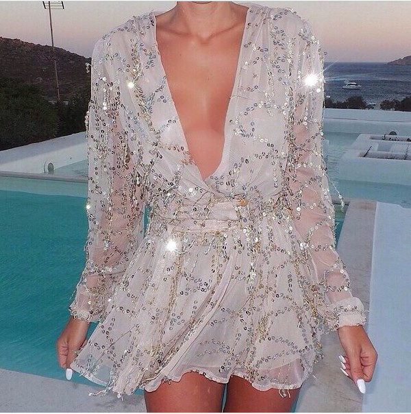 v neck dress mini dress silver dress grey dress holiday dress sequin dress beaded dress embellished dress sheer see through dress dress