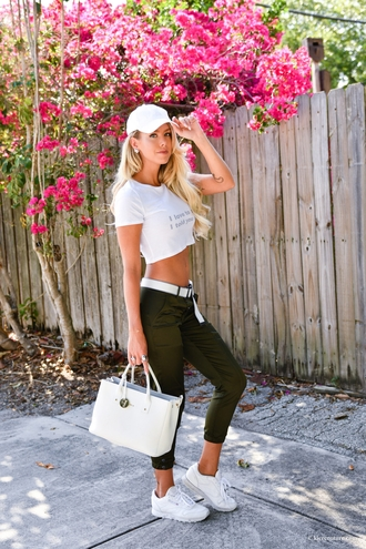 fashion addict blogger top pants hat shoes belt jewels cap crop tops khaki pants handbag summer outfits