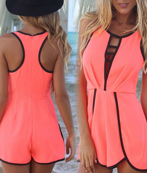 Summer Trendy Sexy Hollow Sleeveless Rompers | Fashion Uk Shop