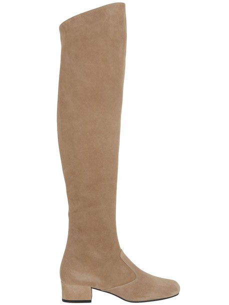 Saint Laurent over the knee boots suede camel shoes
