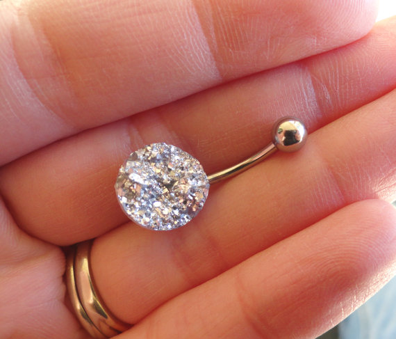 Iridescent Silver Druzy Belly Button Jewelry Ring