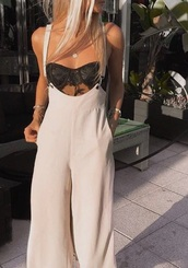 pants,suspenders pants,cream,white,jumpsuit,beige,overalls,nude,high waisted