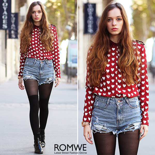 ROMWE | ROMWE White Heart Pattern Red Chiffon Shirt, The Latest Street Fashion
