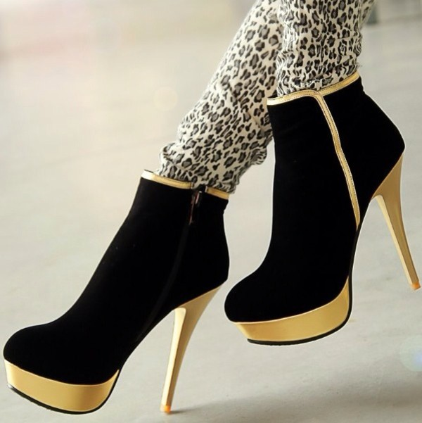 shoes black gold heels boots