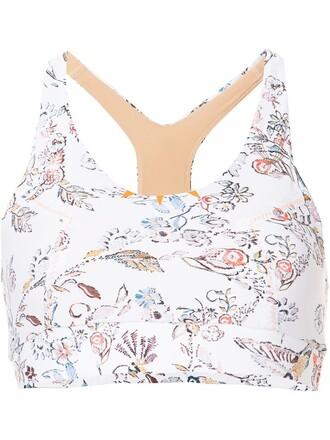 bra sports bra floral print white underwear