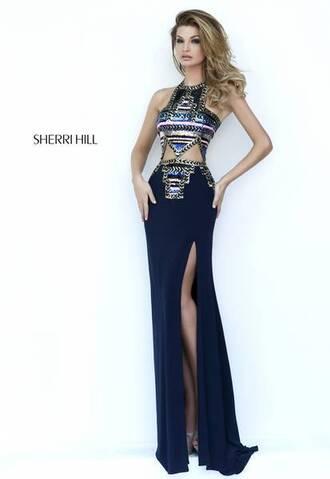 dress cut-out dress prom dress black dress sherri hill