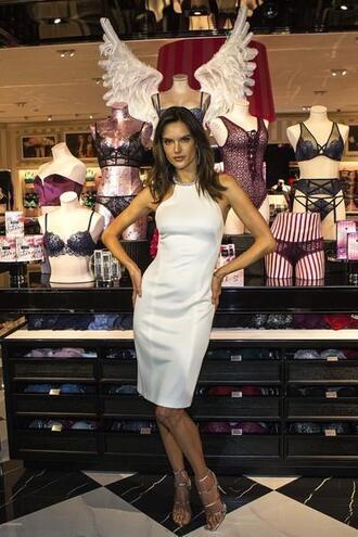 dress white white dress alessandra ambrosio model