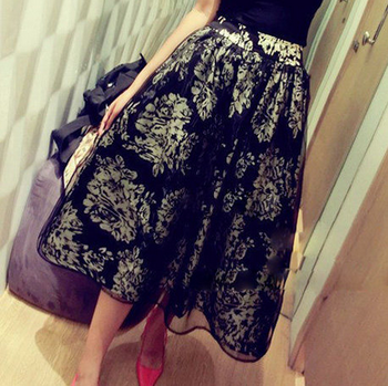Free shipping 2014 new women's baroque floral print ball gown long skirt organza hollow out sexy midi skirt vintage flower skirt-inSkirts from Apparel & Accessories on Aliexpress.com