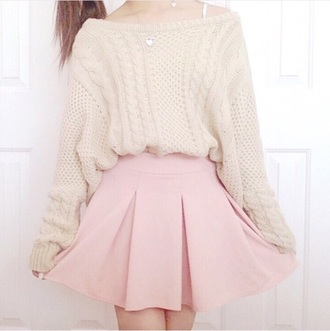 shirt kawaii pink beige sweater cable knit knitted sweater