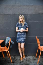 shoes,blue print dress,brown mules,blogger