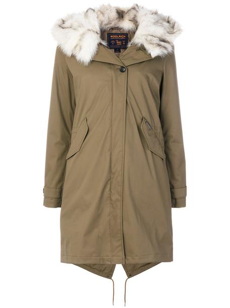 Woolrich coat parka fur fox women green