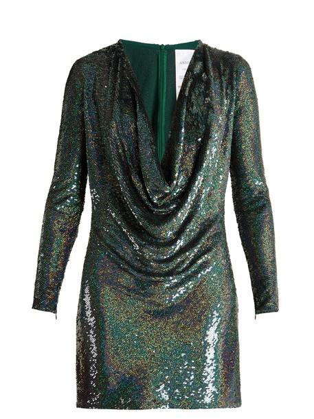 Ashish dress mini dress mini embellished draped silk dark green