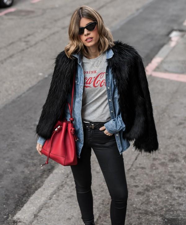 ms treinta blogger coat t-shirt shirt jeans shoes sunglasses bag red bag coca cola fur coat black jeans winter outfits