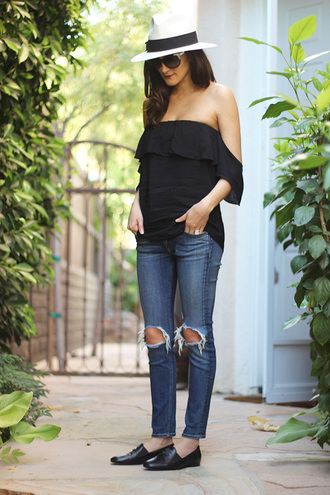 frankie hearts fashion blogger top jeans shoes sunglasses off the shoulder blouse black