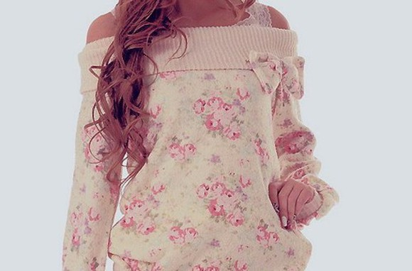 sweater cute floral roses pink summer spring pretty girly casual fall lazy day comfy