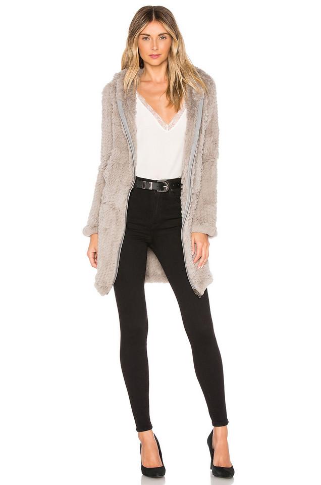 Adrienne Landau Knit Rabbit Long Hoodie in gray