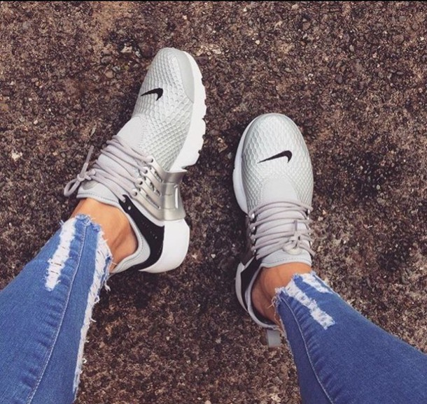 shoes silver black nike nike air presto