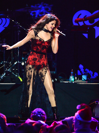 red black selena gomez lace sheer concert