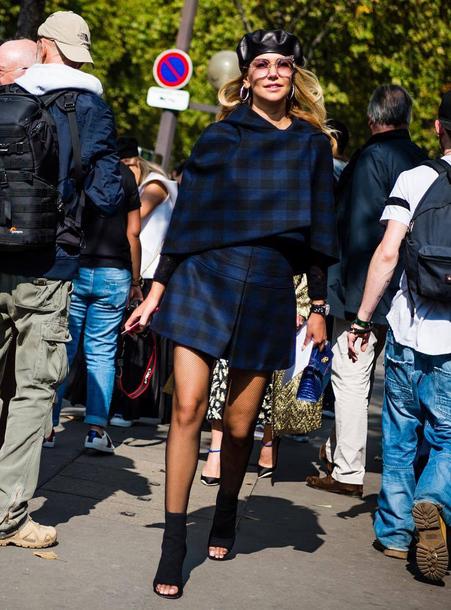 hat beret jacket tartan tartan jacket tartan skirt blue skirt matching set streetstyle