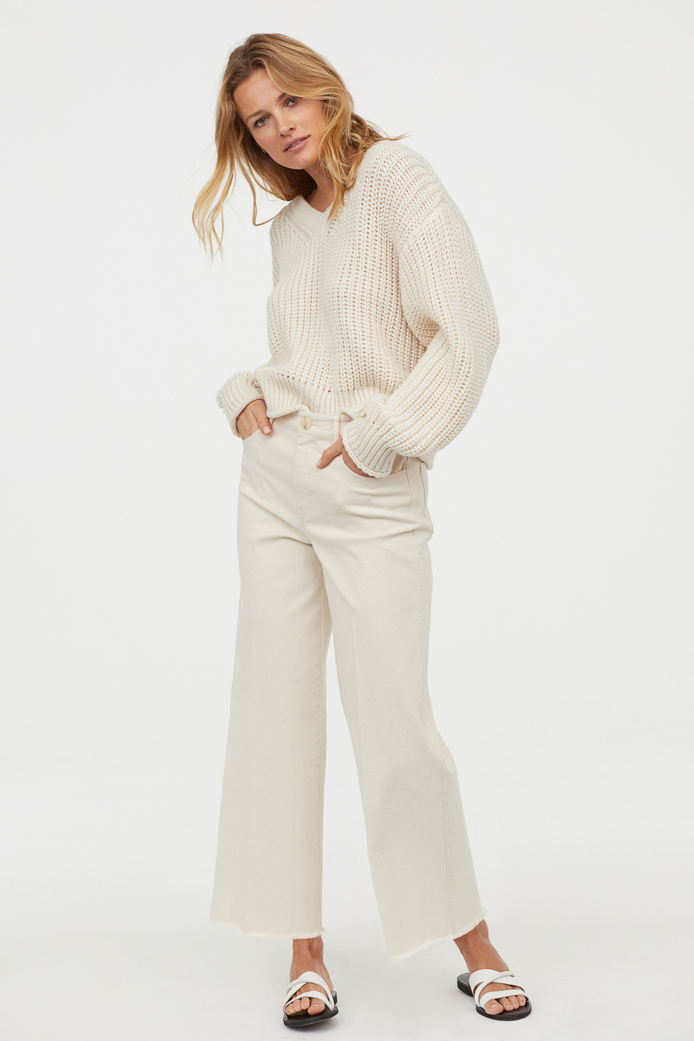 Wide Cropped Jeans - Light beige - Ladies | H&M US