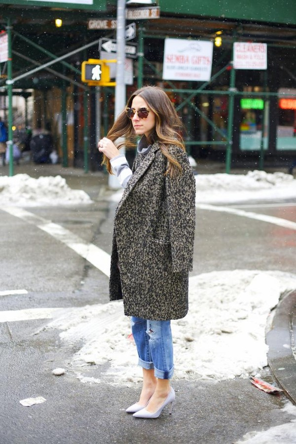 something navy coat jeans bag sweater shoes