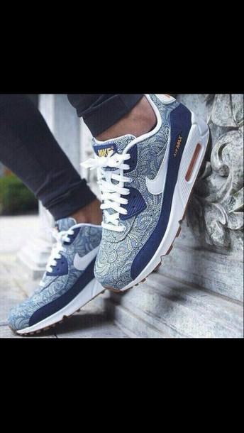 super popular 9e74e 01740 shoes nike air max blue sneakers sneakerhead paisley print