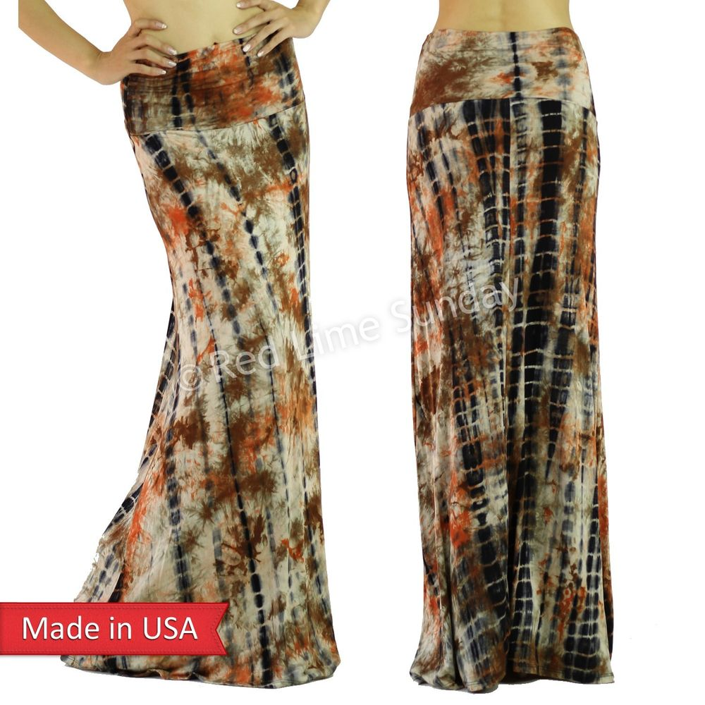 Women Orange Tie Dye Retro Boho Hippie Gypsy Beach Fold Over Long Maxi Skirt USA